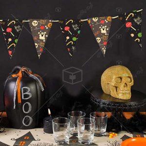 ریسه تزیینی جشن هالووین با طرح بامزه جمجمه و روح