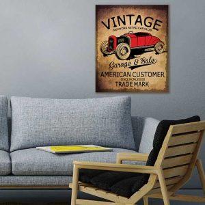 تابلوی خاص و وینتیج رنگی ماشین با طرحی جذاب و گیرا