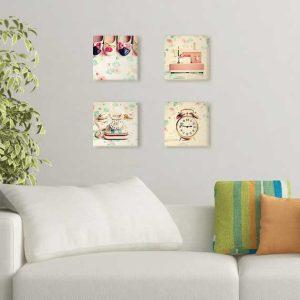 تابلوی چهارتایی با عکسهای وسایل قدیمی و بک گراند گلگلی