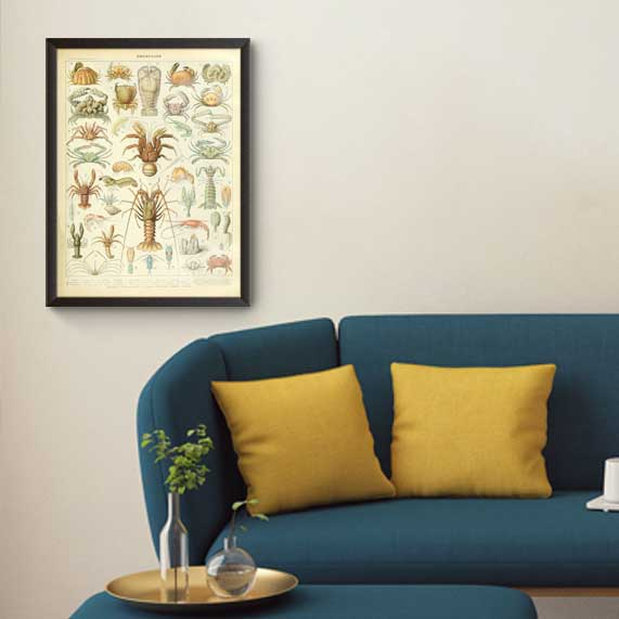 تابلوی وینتیج مجموعه خرچنگها و سختپوستان