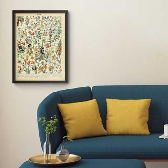 تابلوی وینتیج مجموعه گلها و گیاهان | ۱