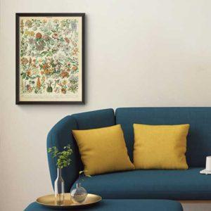 تابلوی وینتیج مجموعه گلها و گیاهان | ۳