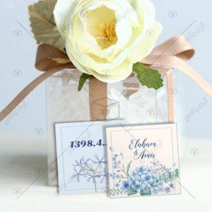 یادداشت گیفت عروسی گلهای آبی